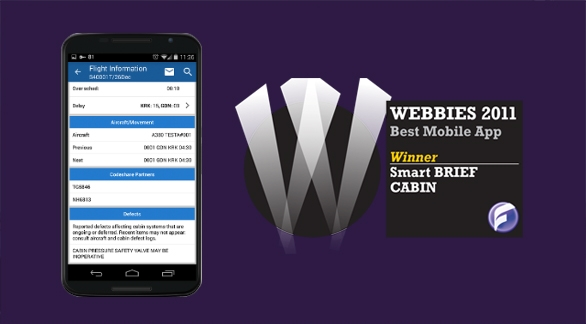 Smart BRIEF CABIN received Flightglobal Webbies 2011 award in the Best Mobile App category